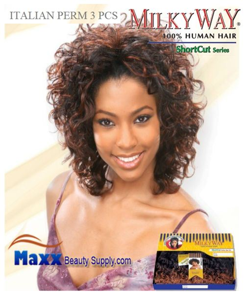 MilkyWay Human Hair Weave Short Cut Series - Italian Perm 3pcs